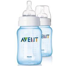 شیشه شیر کلاسیک ۲۶۰ میلی لیتر آبی دوتایی اونت Avent