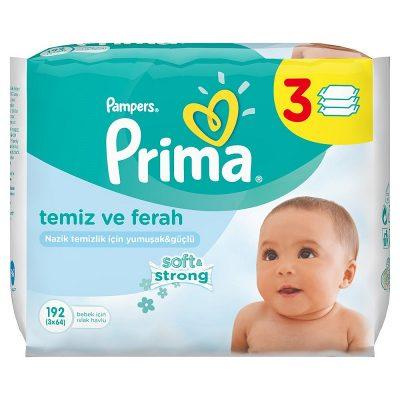 دستمال مرطوب نوزاد پریما پمپرز Pampers Primaبا عصاره آلوورابسته 3عددی