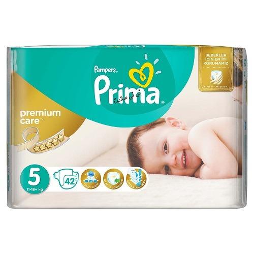 پوشک پریما پمپرز سفید ضد حساسیت سایز 5 (42تایی) prima pamperes