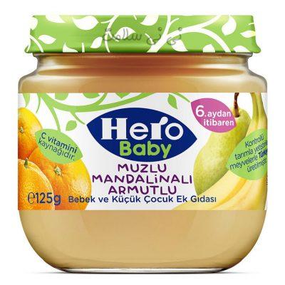 پوره میوه پرتقال،موز و گلابی هرو بیبی hero baby
