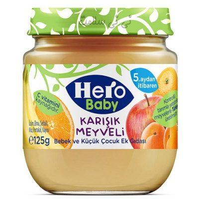 پوره میوه پرتقال،موز،سیب و زردآلو هرو بی بی hero baby
